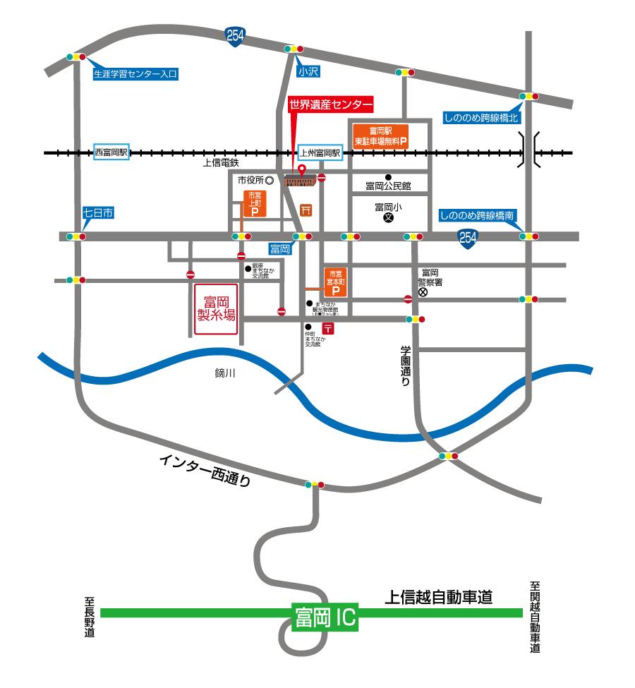 世界遺産センター高速道路からの地図地図